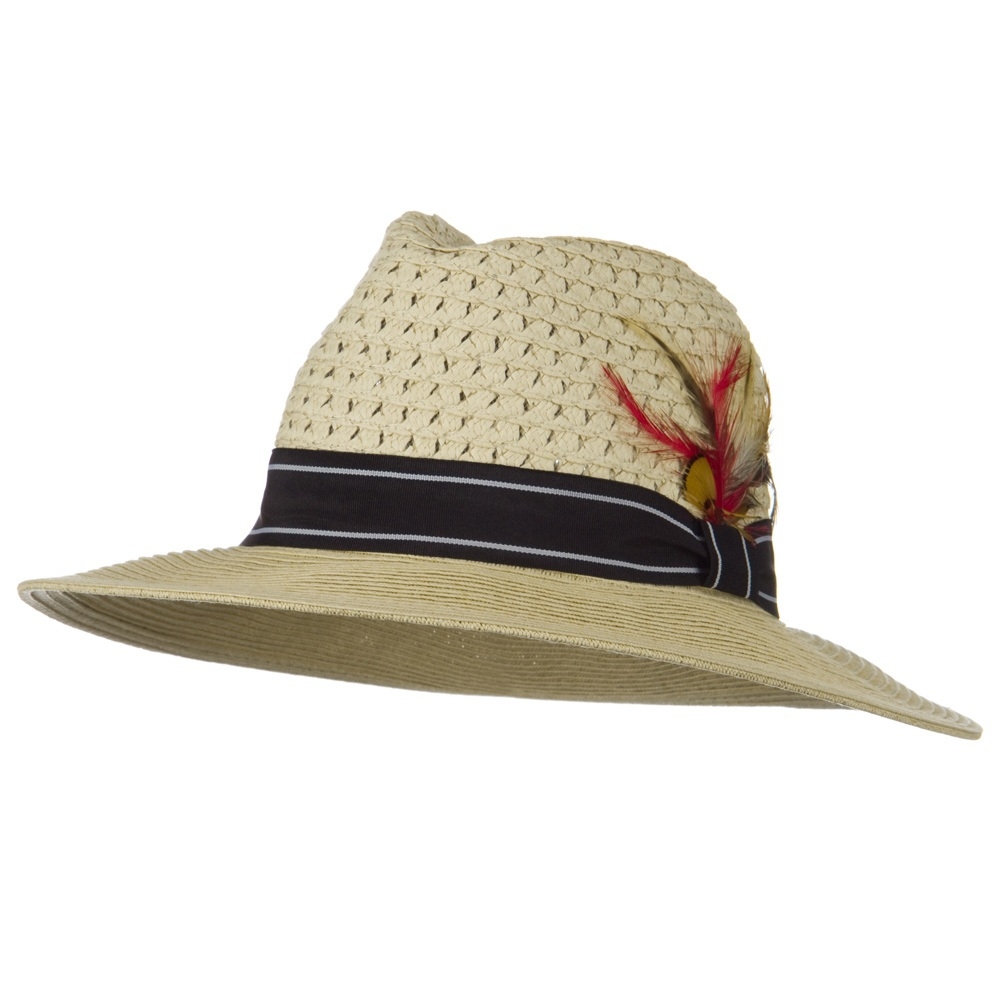 Men's Large Brim Straw Fedora Hat - Beige - Hats and Caps Online Shop - Hip Head Gear