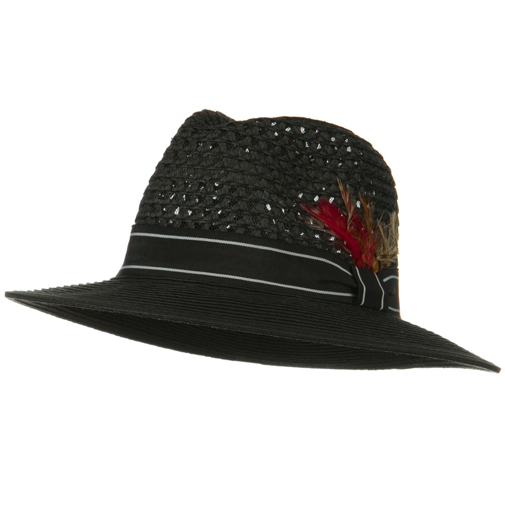 Men's Large Brim Straw Fedora Hat - Black - Hats and Caps Online Shop - Hip Head Gear