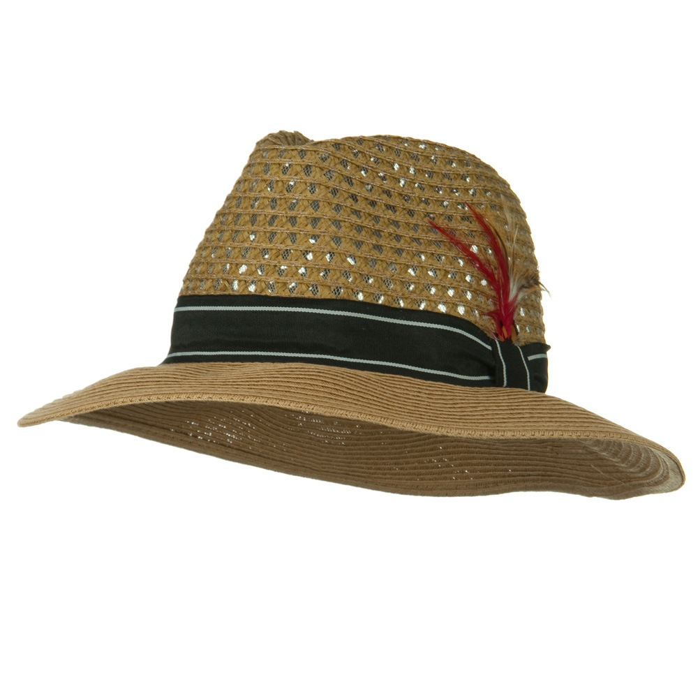 Men's Large Brim Straw Fedora Hat - Bronze - Hats and Caps Online Shop - Hip Head Gear