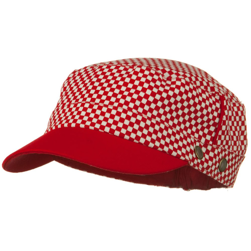 Checker Crown Military Cap - Red - Hats and Caps Online Shop - Hip Head Gear