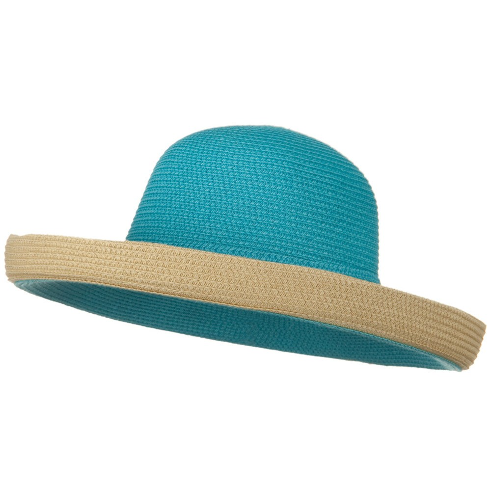 Two Tone Wide Tan Kettle Brim Hat - Aqua - Hats and Caps Online Shop - Hip Head Gear