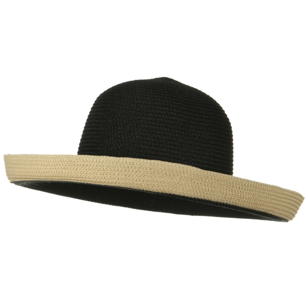 Two Tone Wide Tan Kettle Brim Hat - Black - Hats and Caps Online Shop - Hip Head Gear