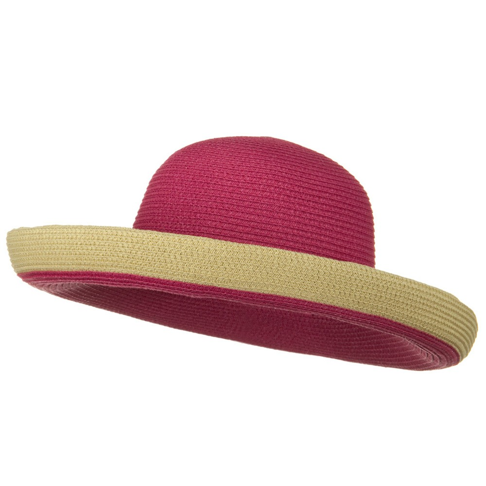 Two Tone Wide Tan Kettle Brim Hat - Fuchsia - Hats and Caps Online Shop - Hip Head Gear