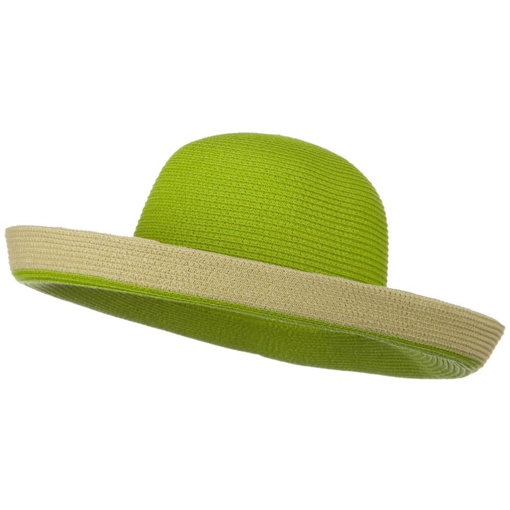 Two Tone Wide Tan Kettle Brim Hat - Lime - Hats and Caps Online Shop - Hip Head Gear