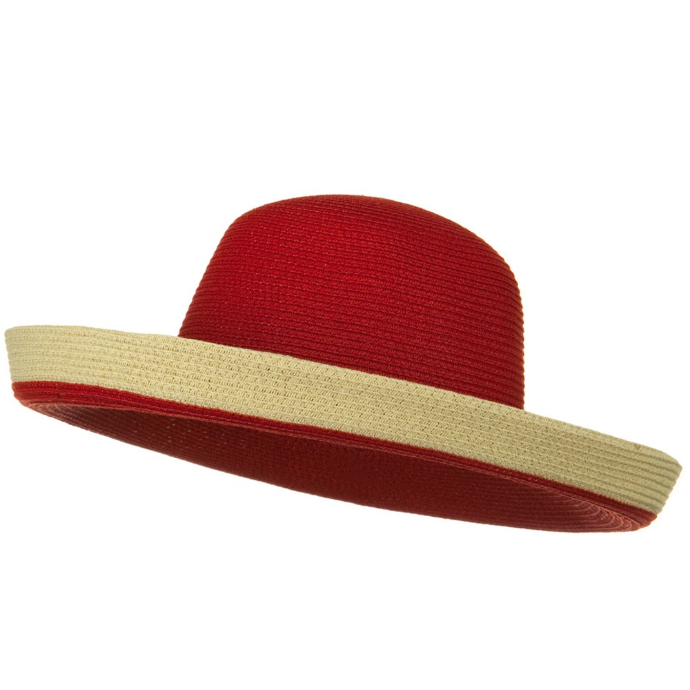 Two Tone Wide Tan Kettle Brim Hat - Red - Hats and Caps Online Shop - Hip Head Gear