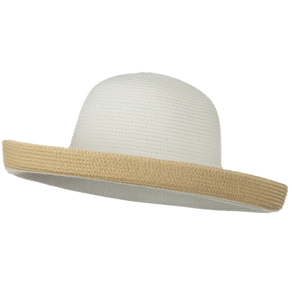 Two Tone Wide Tan Kettle Brim Hat - White - Hats and Caps Online Shop - Hip Head Gear
