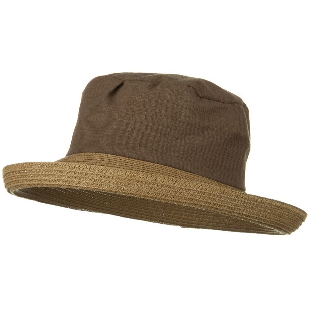 Woman's Cotton Crown Kettle Brim Straw Hat - Brown - Hats and Caps Online Shop - Hip Head Gear