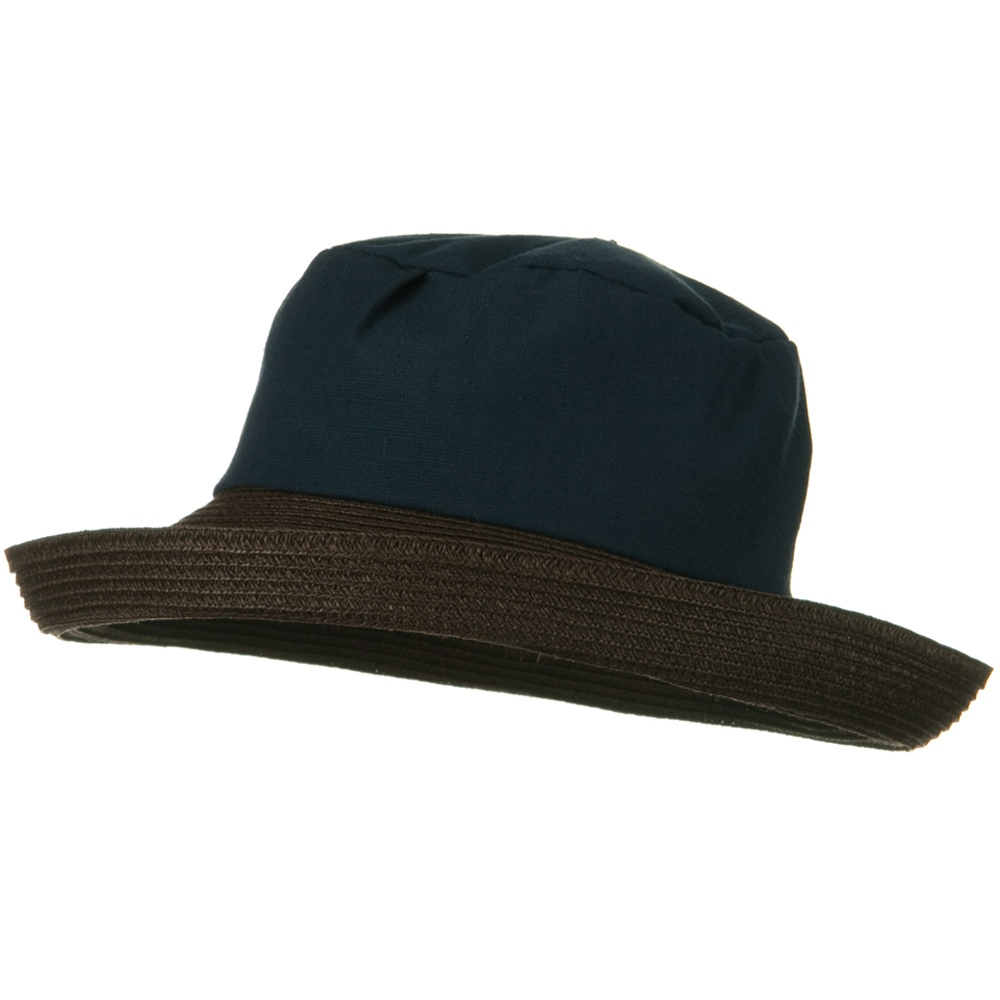 Woman's Cotton Crown Kettle Brim Straw Hat - Navy - Hats and Caps Online Shop - Hip Head Gear