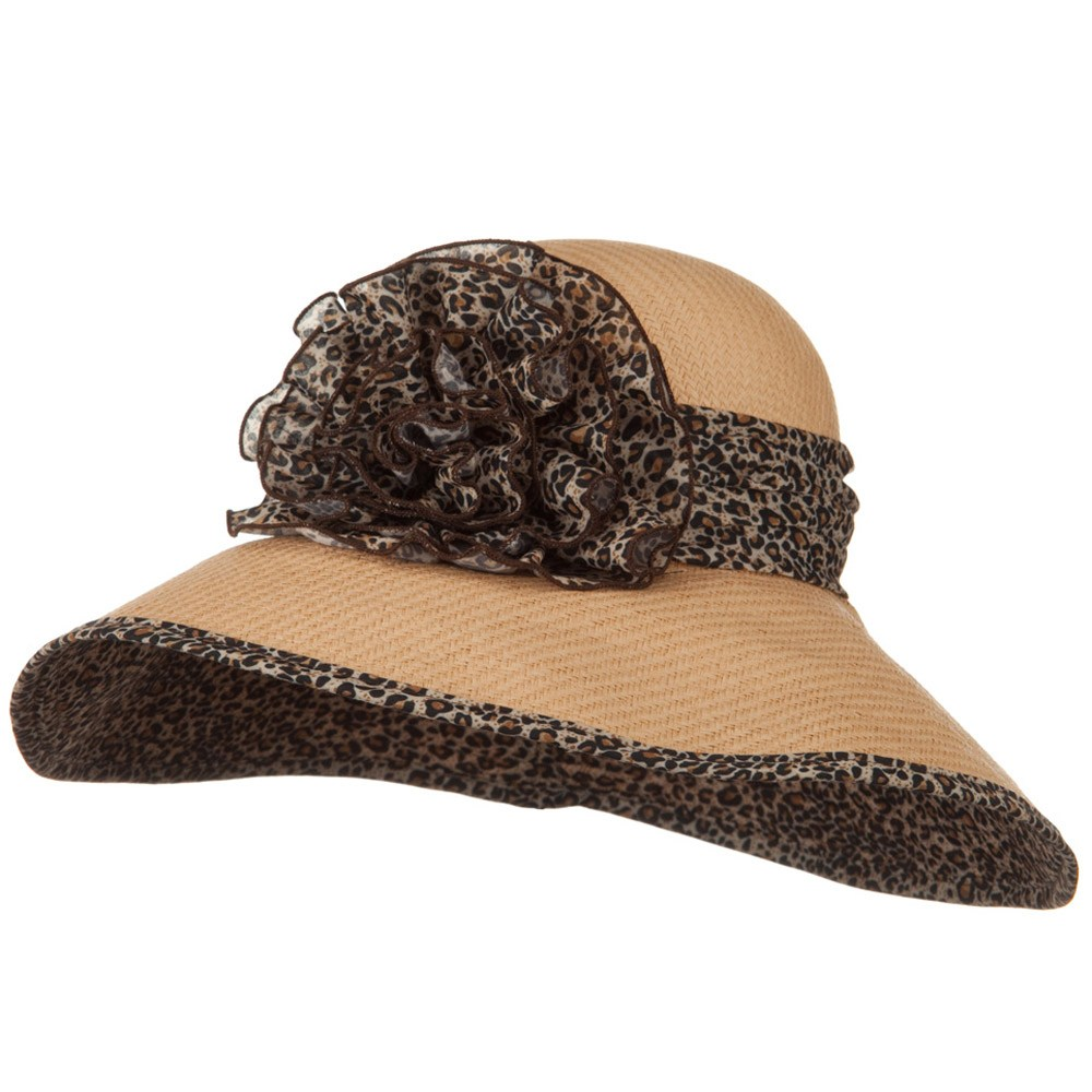 Flower Ribbon Straw Hat - Animal Print - Hats and Caps Online Shop - Hip Head Gear