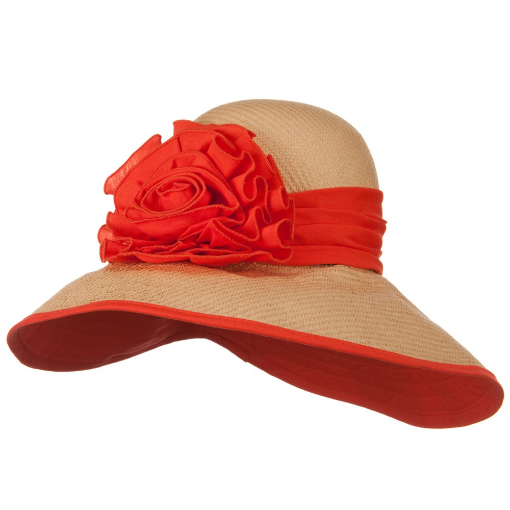 Flower Ribbon Straw Hat - Orange - Hats and Caps Online Shop - Hip Head Gear
