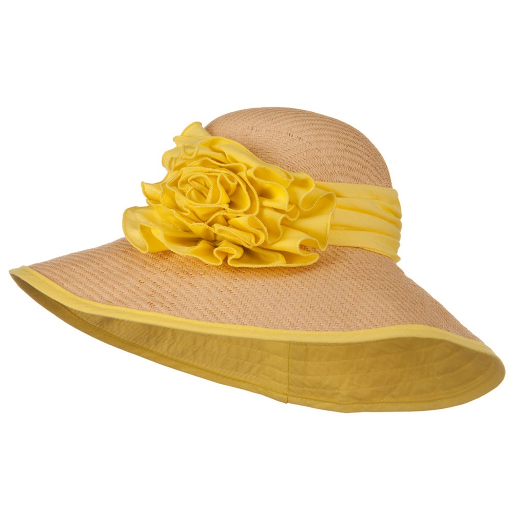 Flower Ribbon Straw Hat - Yellow - Hats and Caps Online Shop - Hip Head Gear