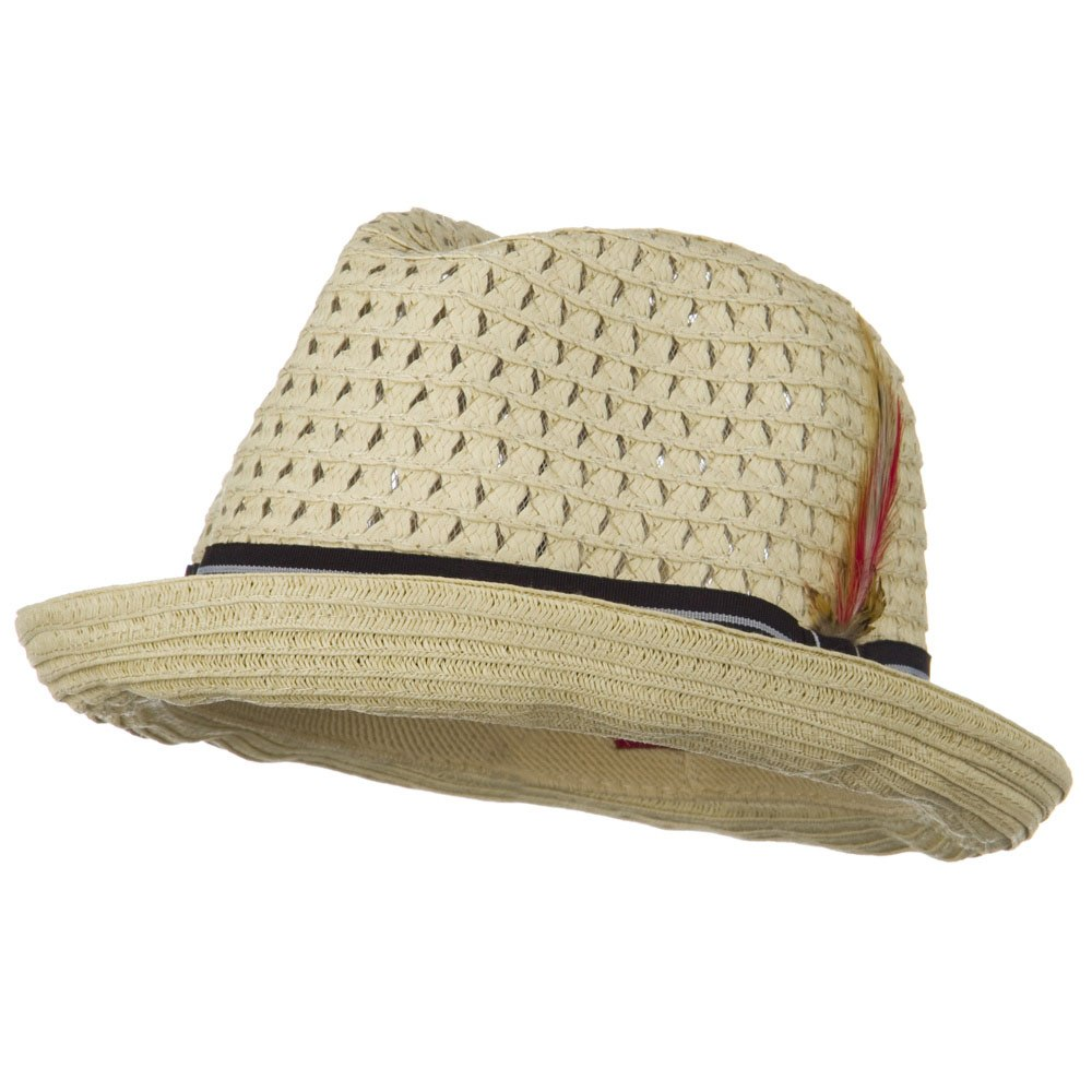 Men's Fedora Open Weave Crown Feather Hat - Beige - Hats and Caps Online Shop - Hip Head Gear