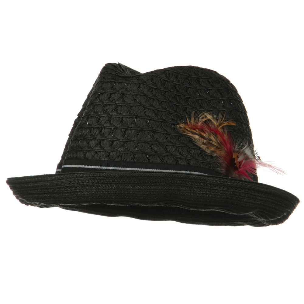 Men's Fedora Open Weave Crown Feather Hat - Black - Hats and Caps Online Shop - Hip Head Gear