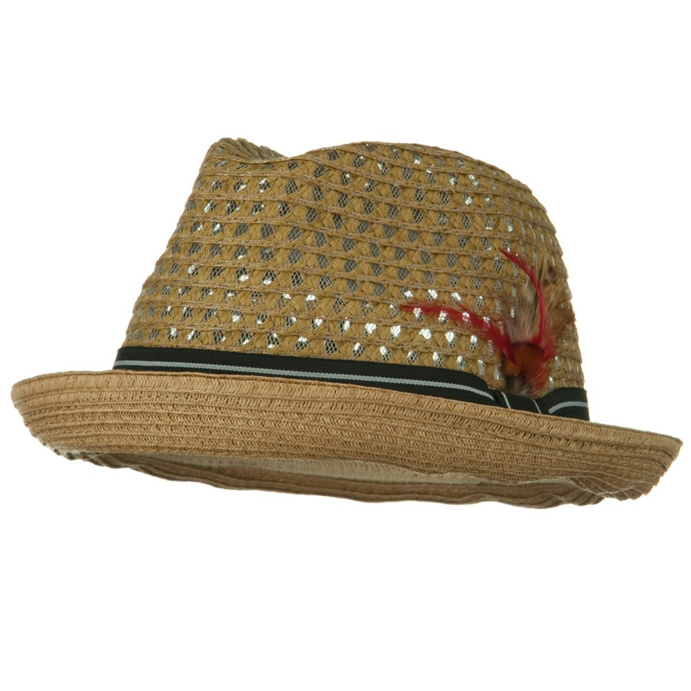 Men's Fedora Open Weave Crown Feather Hat - Bronze - Hats and Caps Online Shop - Hip Head Gear