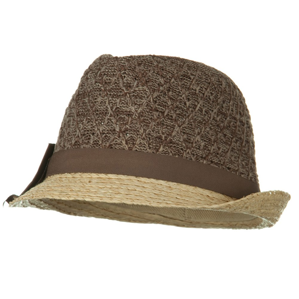 Cloth Raffia Knit Crown Ribbon Bow Fedora - Brown - Hats and Caps Online Shop - Hip Head Gear