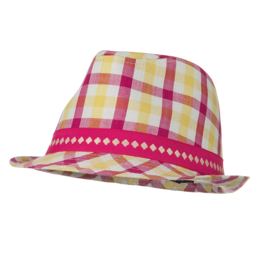Girl's Pink Fedora Hat - Plaid Red - Hats and Caps Online Shop - Hip Head Gear