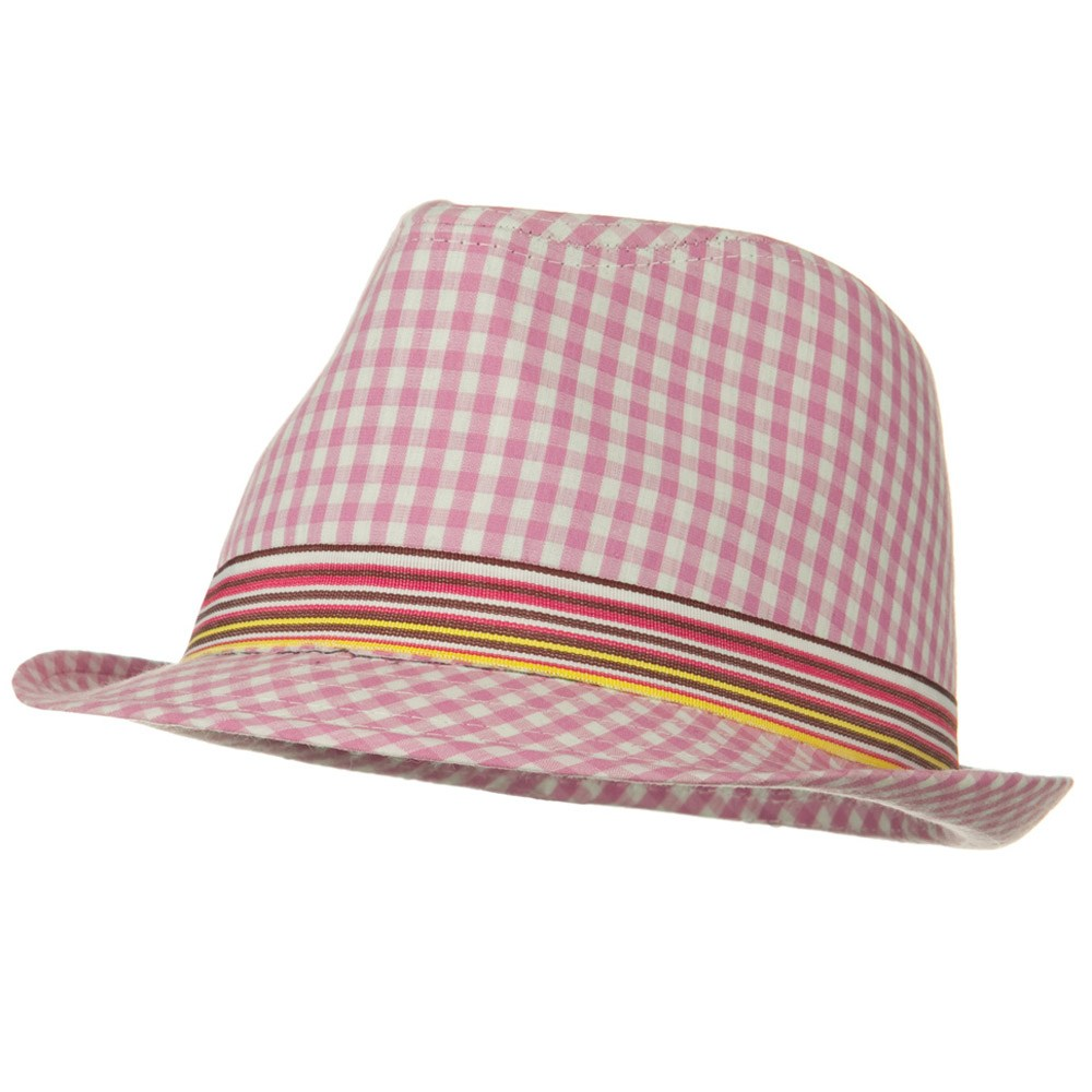 Girl's Pink Fedora Hat - Checkered Pink - Hats and Caps Online Shop - Hip Head Gear