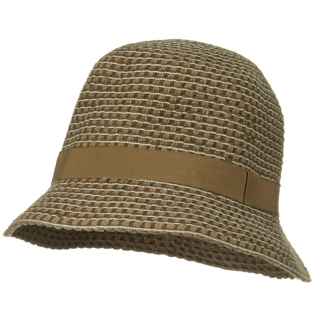UPF 50+ Cloche Cotton Sewn Braid Short Brim Hat - Brown - Hats and Caps Online Shop - Hip Head Gear