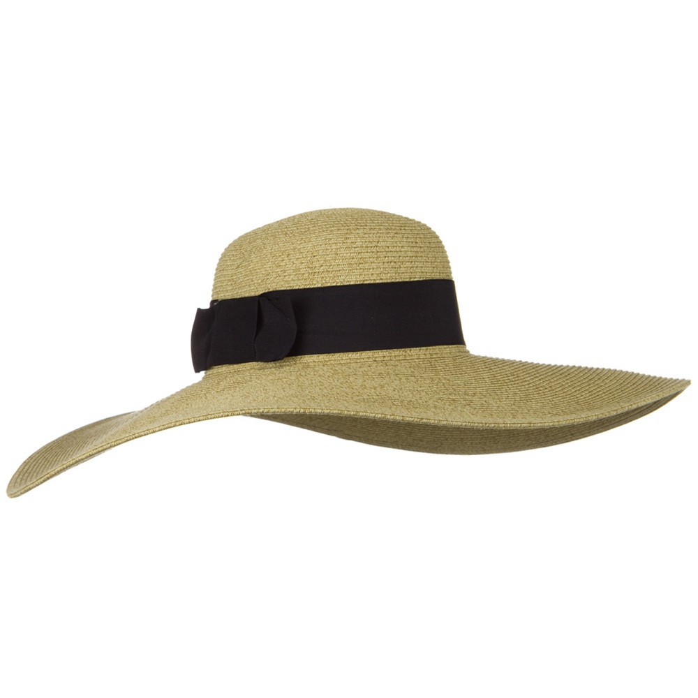 UPF 50+ Black Ribbon Wide Flat Brim Hat - Wheat - Hats and Caps Online Shop - Hip Head Gear