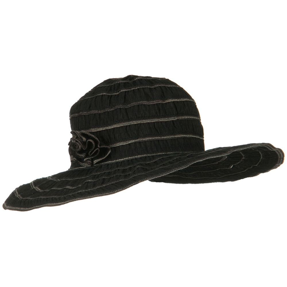 UPF 40+ Gathered Ribbon Stripe Flower Hat - Black - Hats and Caps Online Shop - Hip Head Gear