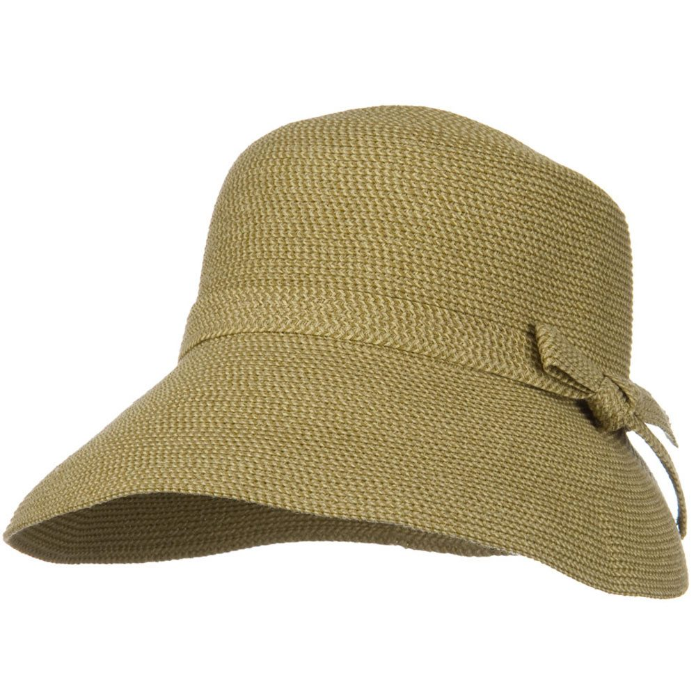 UPF 50+ Woman Cloche Slanted Self Tie Bow Hat - Tan Tweed - Hats and Caps Online Shop - Hip Head Gear