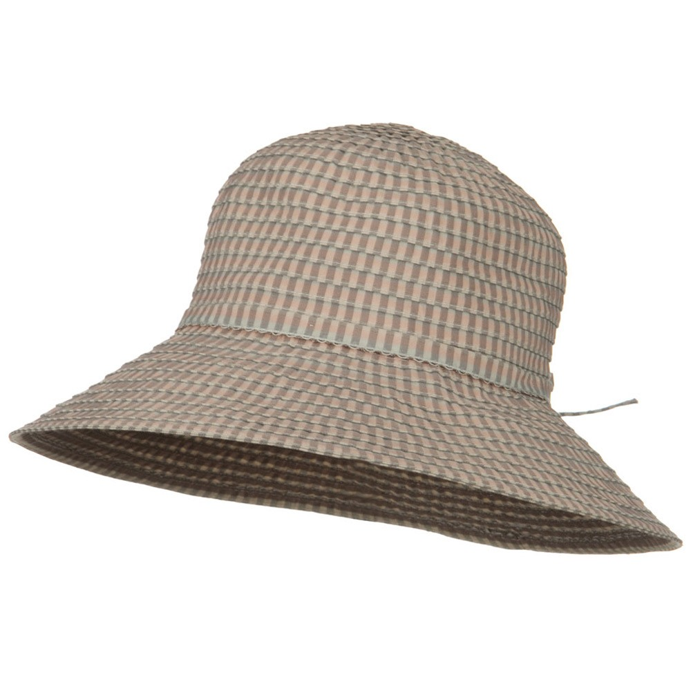 UPF 50+ Checkered 4 Inch Brim Self Tie Hat - Pink - Hats and Caps Online Shop - Hip Head Gear