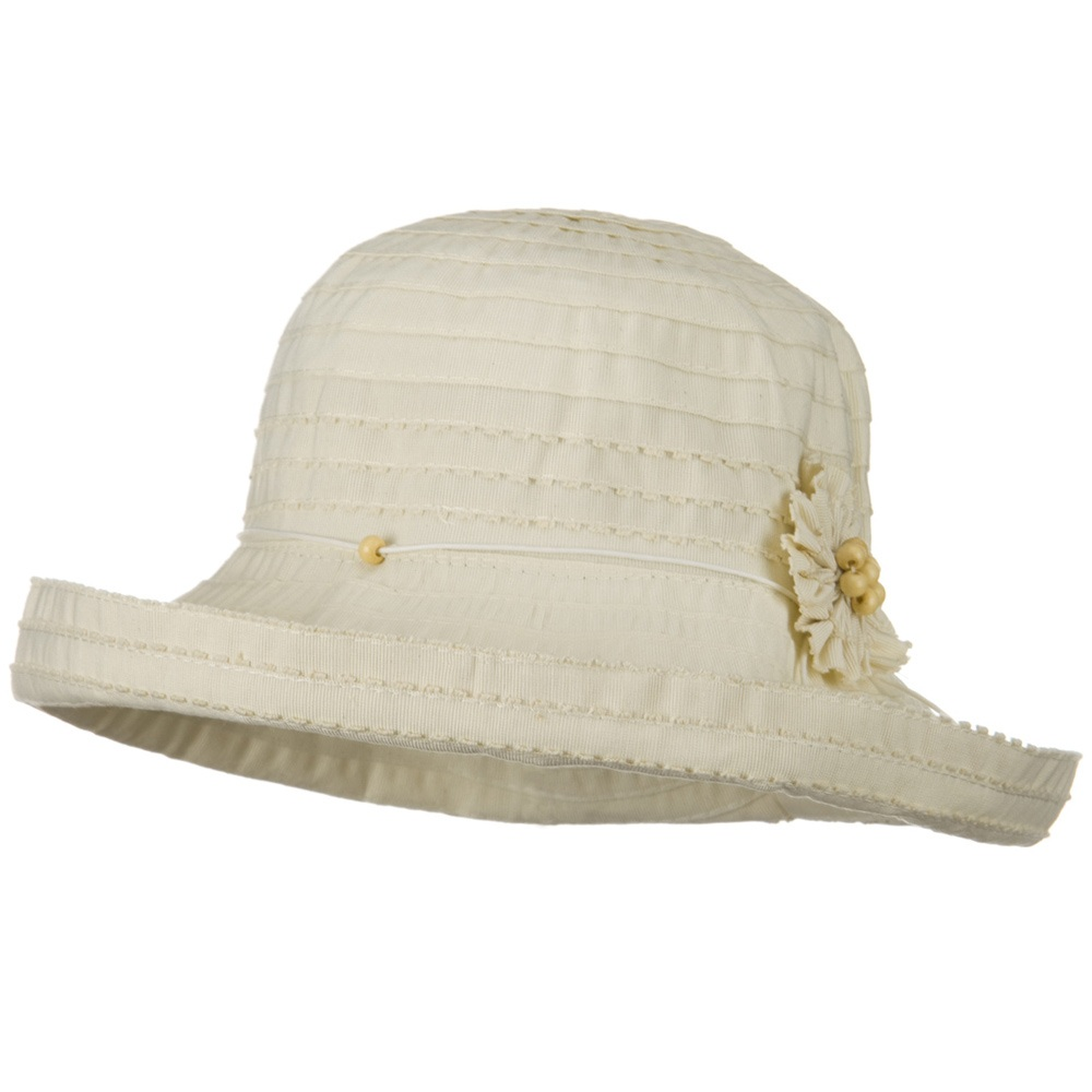 Flower Ribbon Wide Turned Up Brim Hat - Ivory - Hats and Caps Online Shop - Hip Head Gear