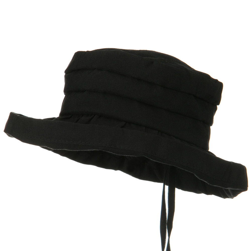 Woman's Ribbon 3 Inch Brim Pleated Crown Hat - Black - Hats and Caps Online Shop - Hip Head Gear