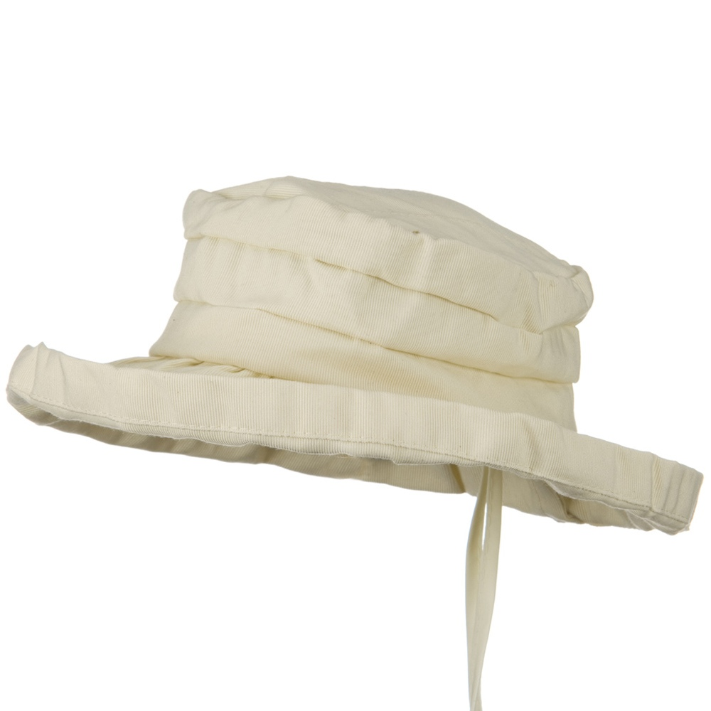 Woman's Ribbon 3 Inch Brim Pleated Crown Hat - Cream - Hats and Caps Online Shop - Hip Head Gear