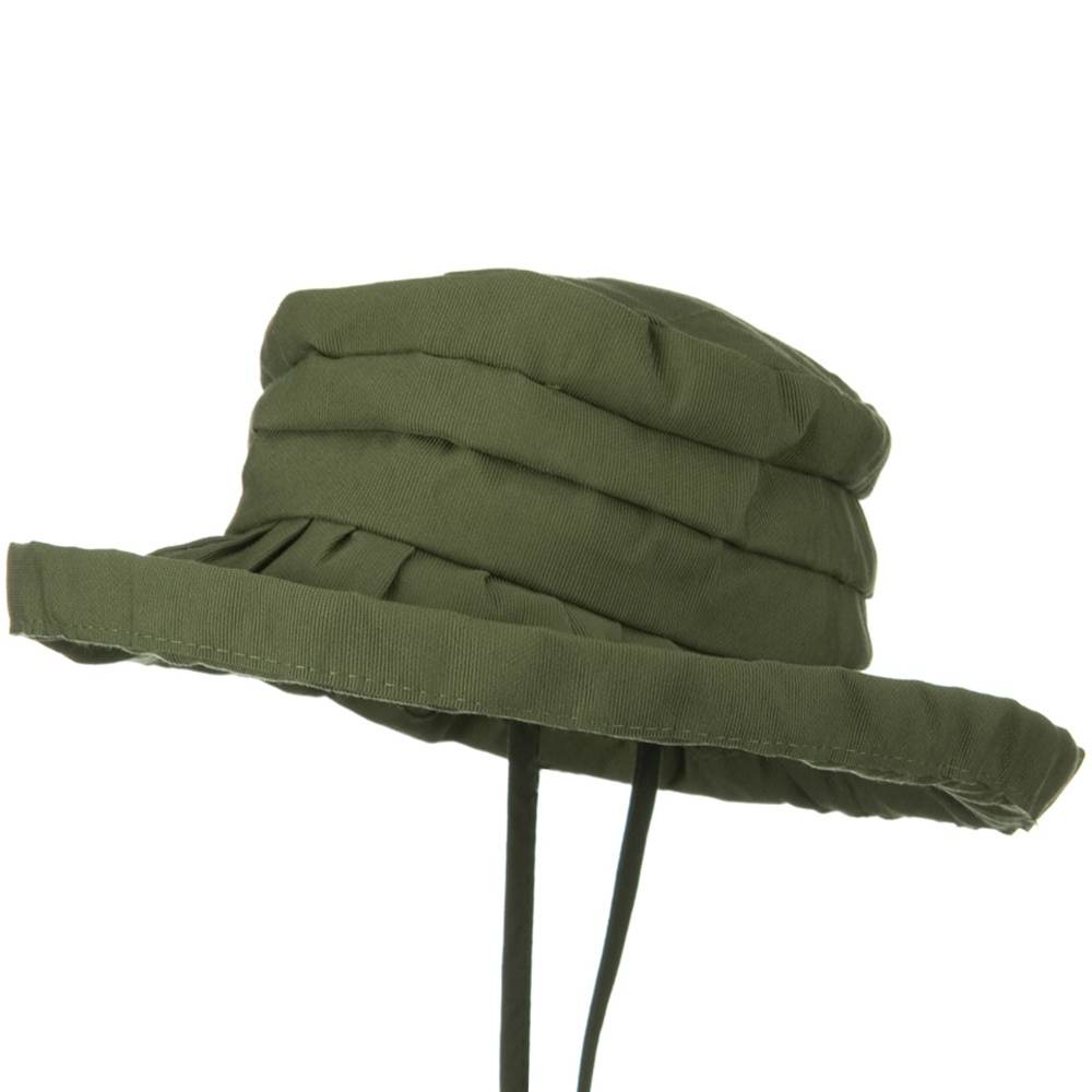 Woman's Ribbon 3 Inch Brim Pleated Crown Hat - Green - Hats and Caps Online Shop - Hip Head Gear