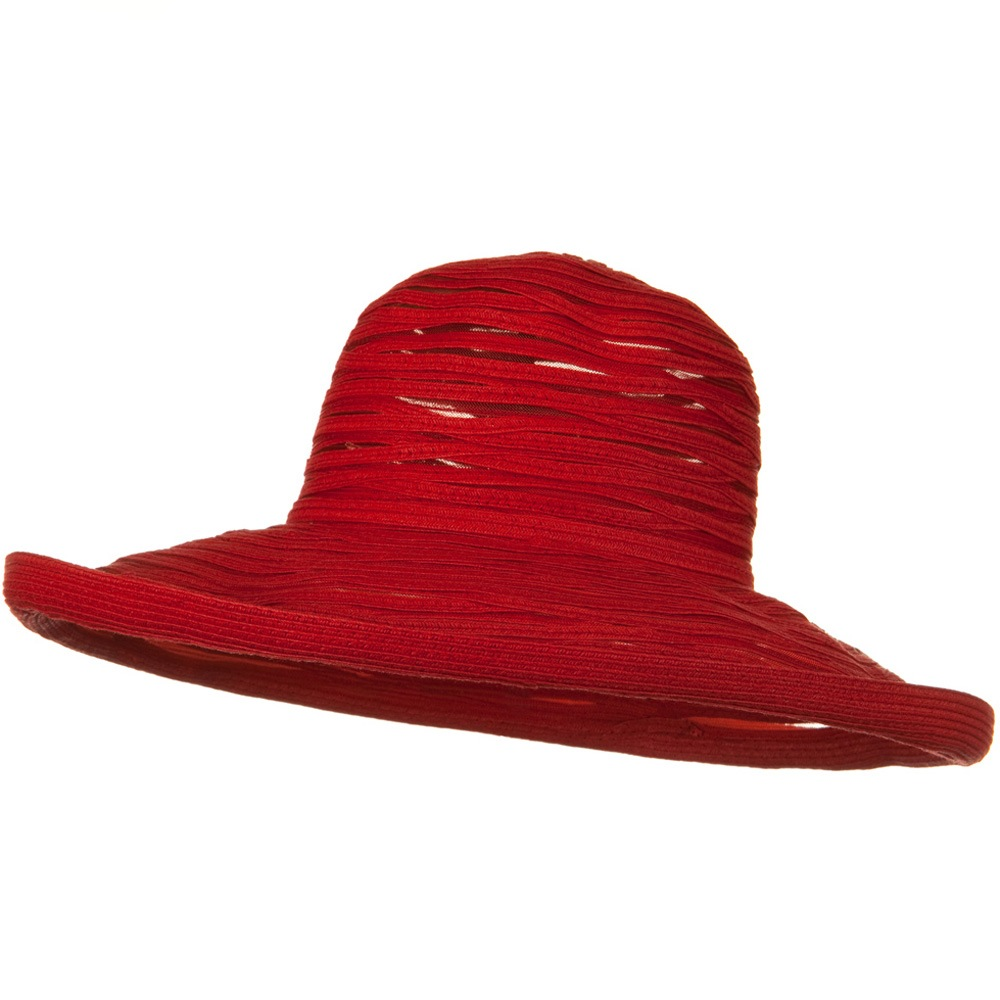 Ribbon Mesh Turn Up Braid Hat - Red - Hats and Caps Online Shop - Hip Head Gear
