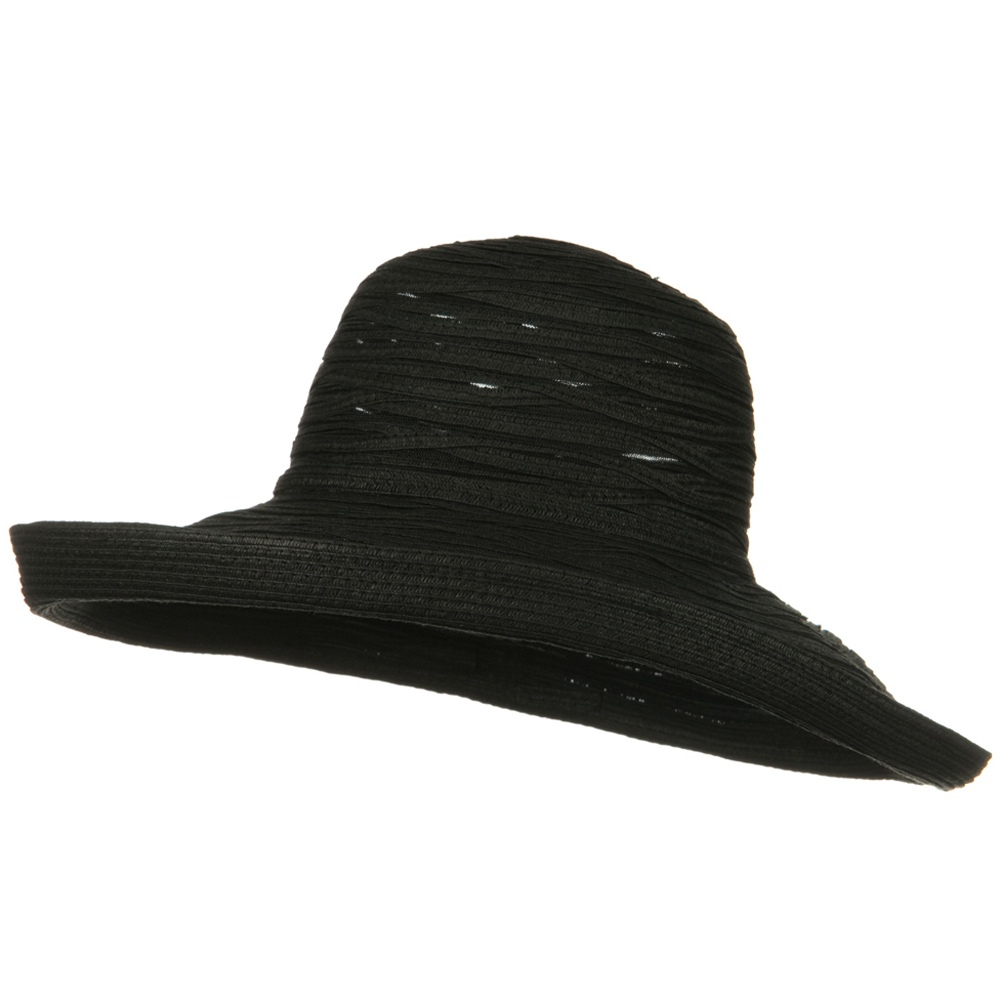 Ribbon Mesh Turn Up Braid Hat - Black - Hats and Caps Online Shop - Hip Head Gear