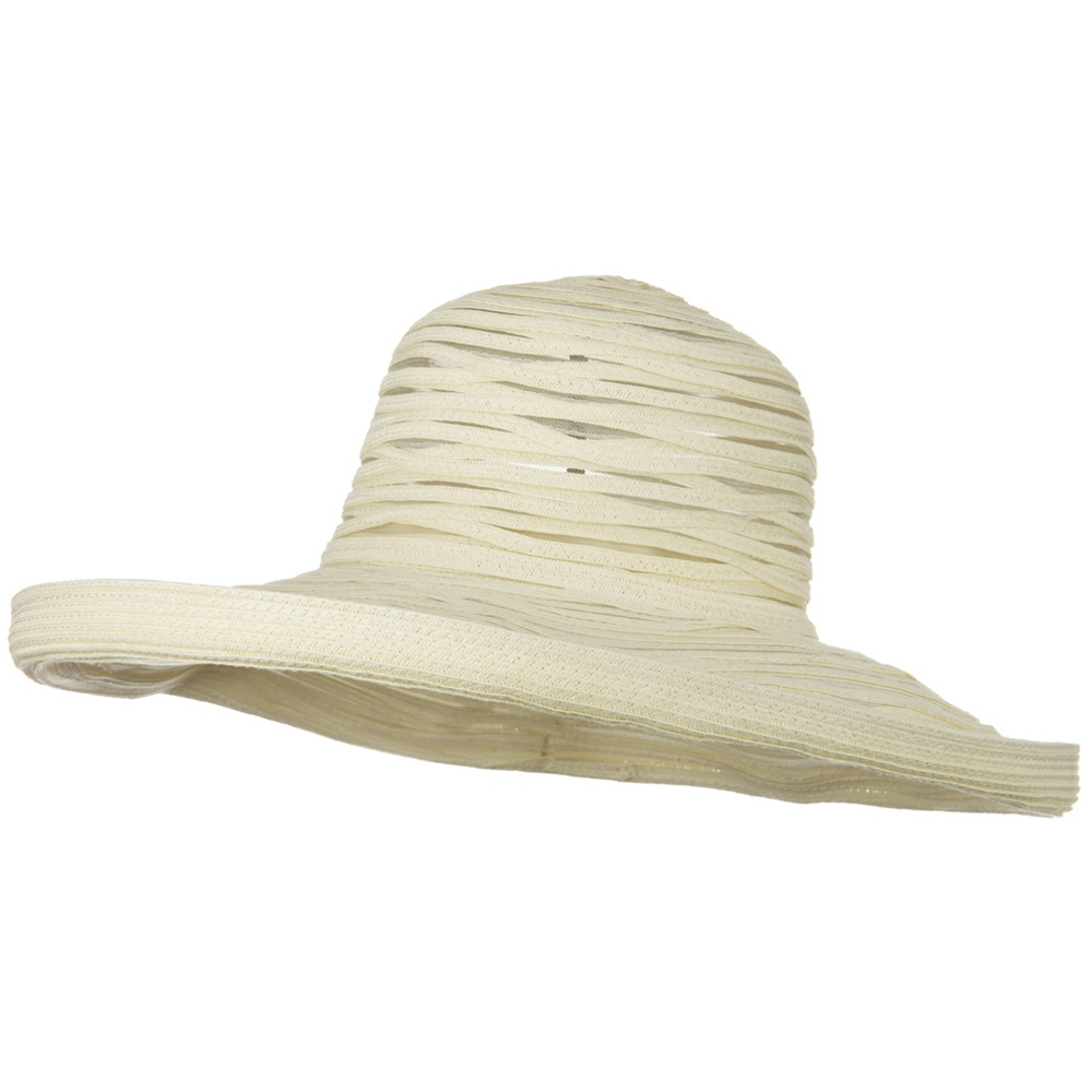 Ribbon Mesh Turn Up Braid Hat - Beige - Hats and Caps Online Shop - Hip Head Gear