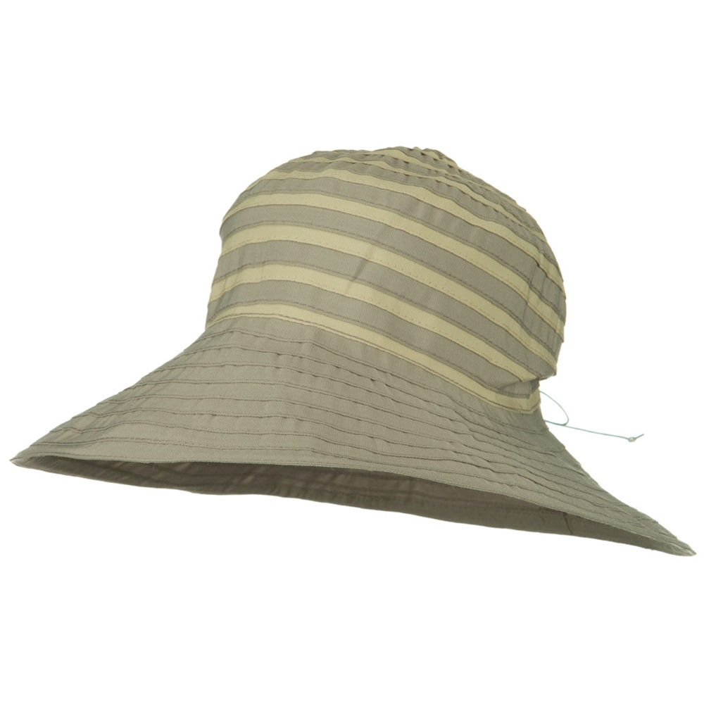 UPF 50+ 4 Inch Ribbon Stripe Crown Hat - Grey Tan - Hats and Caps Online Shop - Hip Head Gear