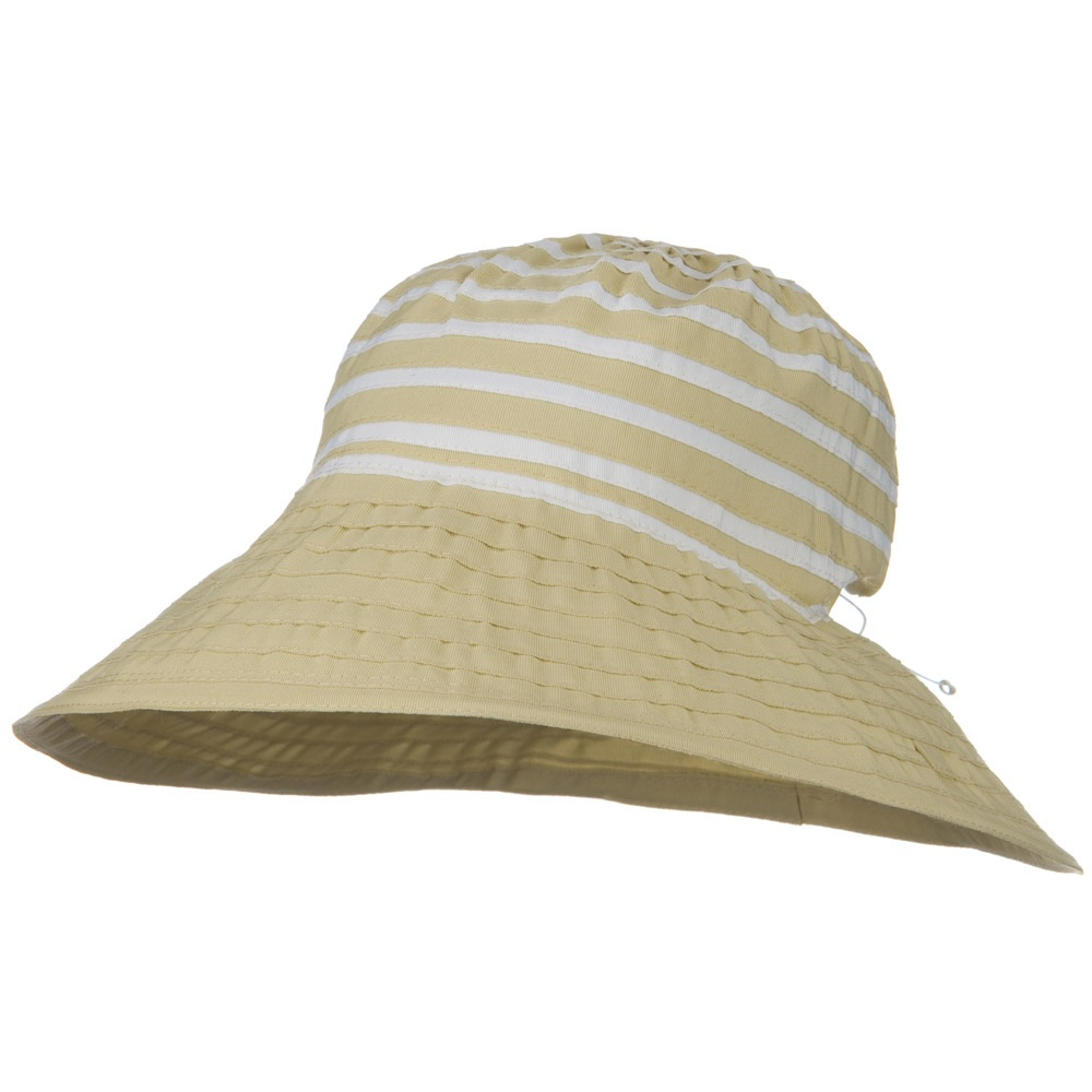 UPF 50+ 4 Inch Ribbon Stripe Crown Hat - Tan White - Hats and Caps Online Shop - Hip Head Gear