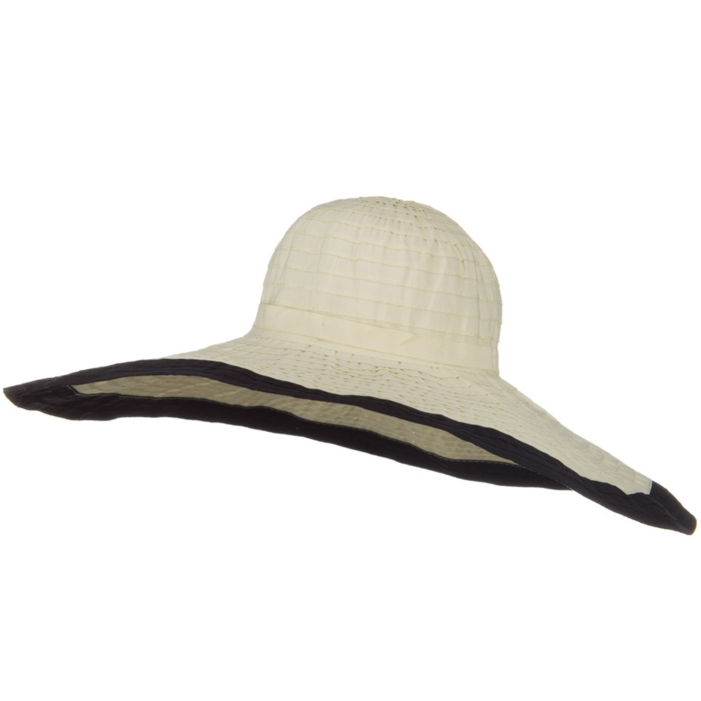 Ribbon 8 Inch Wide Brim Edge Self Tie Hat - Beige Black