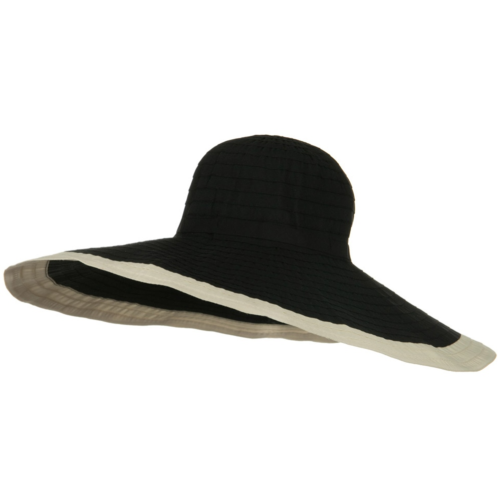 Ribbon 8 Inch Wide Brim Edge Self Tie Hat - Black Beige