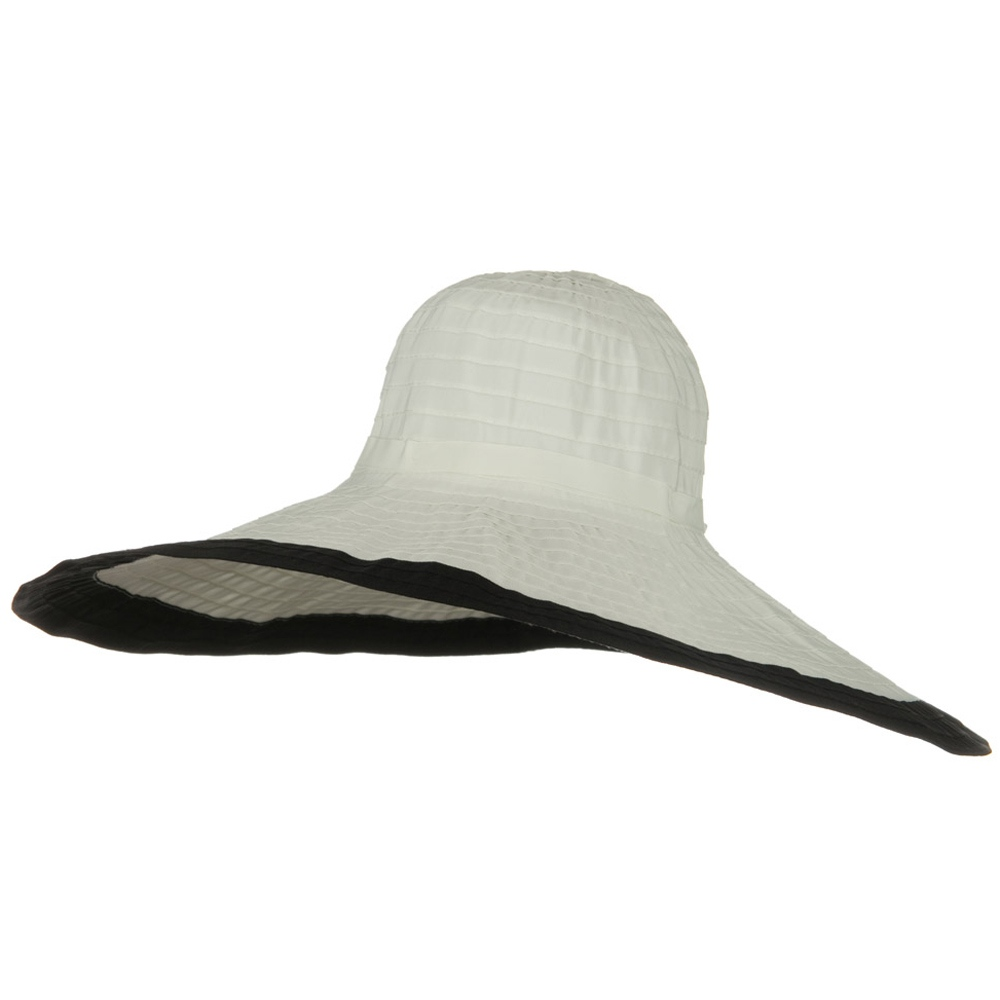 Ribbon 8 Inch Wide Brim Edge Self Tie Hat - White Black