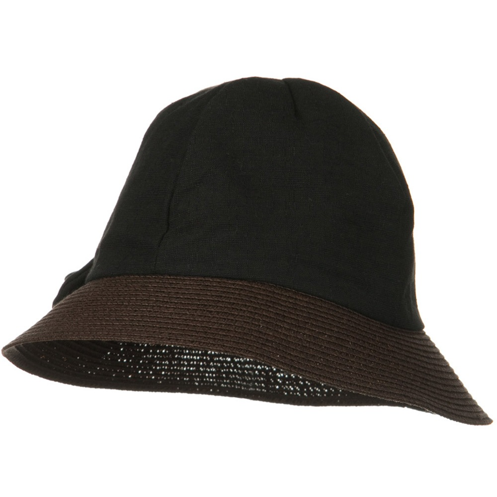 8 Panel Woman's Bucket Straw Hat - Black - Hats and Caps Online Shop - Hip Head Gear