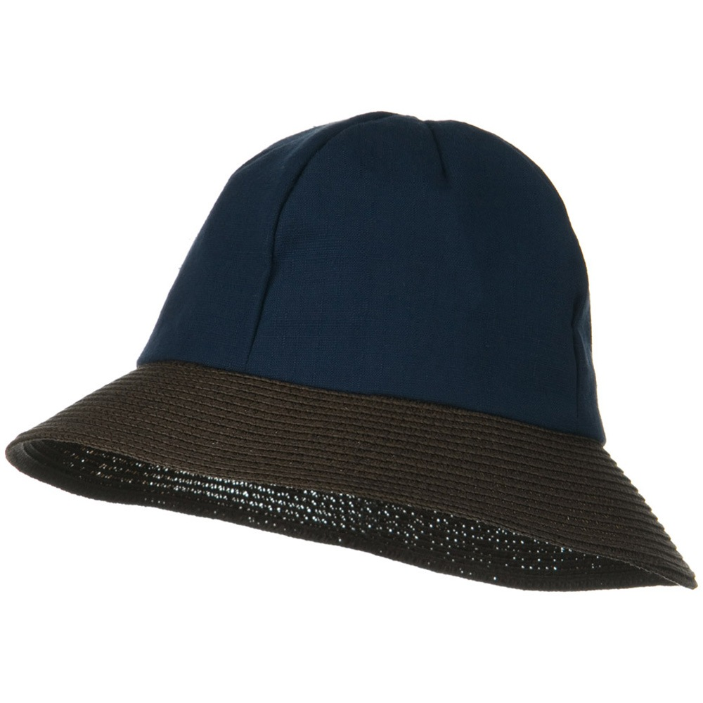 8 Panel Woman's Bucket Straw Hat - Navy - Hats and Caps Online Shop - Hip Head Gear