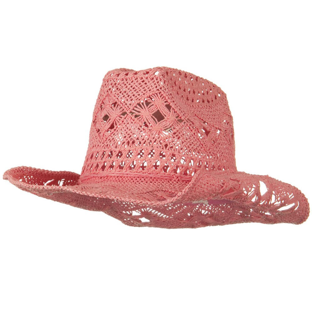 Girls Self Tie Straw Cowboy Hat - Pink - Hats and Caps Online Shop - Hip Head Gear