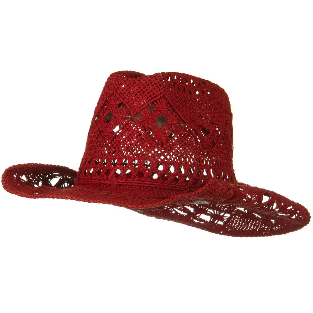 Girls Self Tie Straw Cowboy Hat - Red - Hats and Caps Online Shop - Hip Head Gear