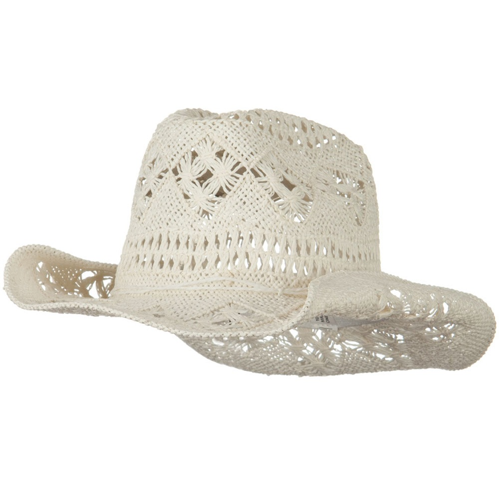 Girls Self Tie Straw Cowboy Hat - White - Hats and Caps Online Shop - Hip Head Gear
