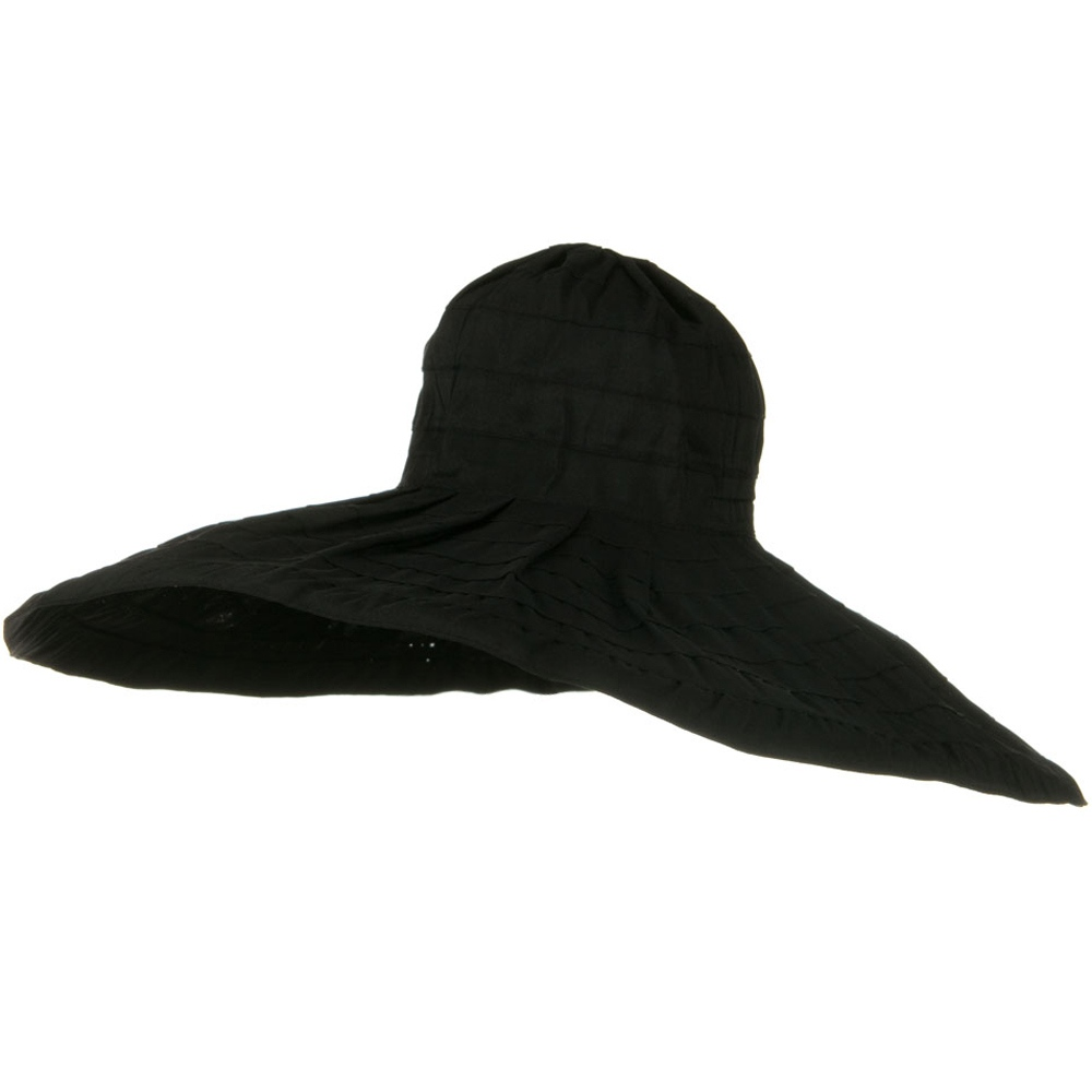 Bold Stripe Sewn Ribbon 8 1/2 Inch Wide Brim Hat - Black - Hats and Caps Online Shop - Hip Head Gear