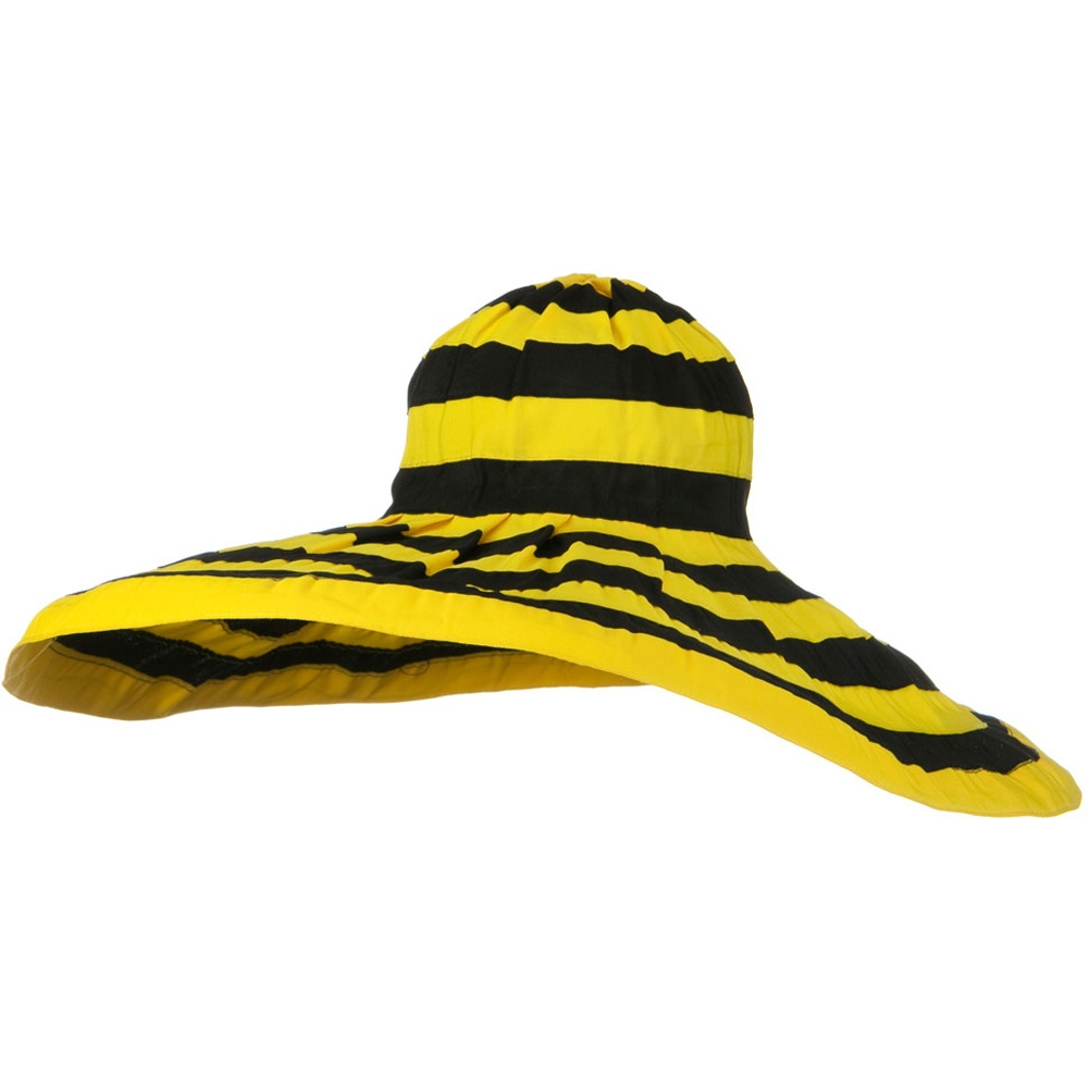 Bold Stripe Sewn Ribbon 8 1/2 Inch Wide Brim Hat - Black Yellow - Hats and Caps Online Shop - Hip Head Gear