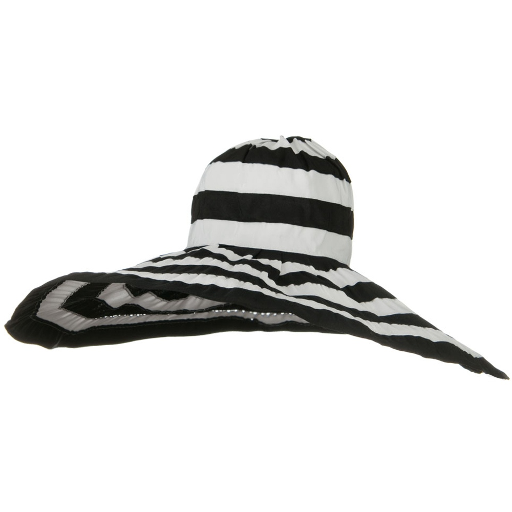 Bold Stripe Sewn Ribbon 8 1/2 Inch Wide Brim Hat - Black White - Hats and Caps Online Shop - Hip Head Gear