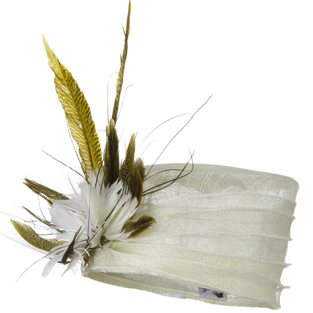 Long Feather Sinamay Hat - White - Hats and Caps Online Shop - Hip Head Gear