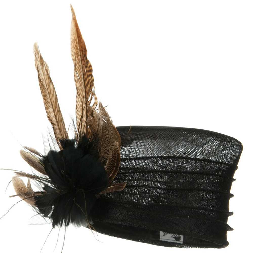 Long Feather Sinamay Hat - Black - Hats and Caps Online Shop - Hip Head Gear