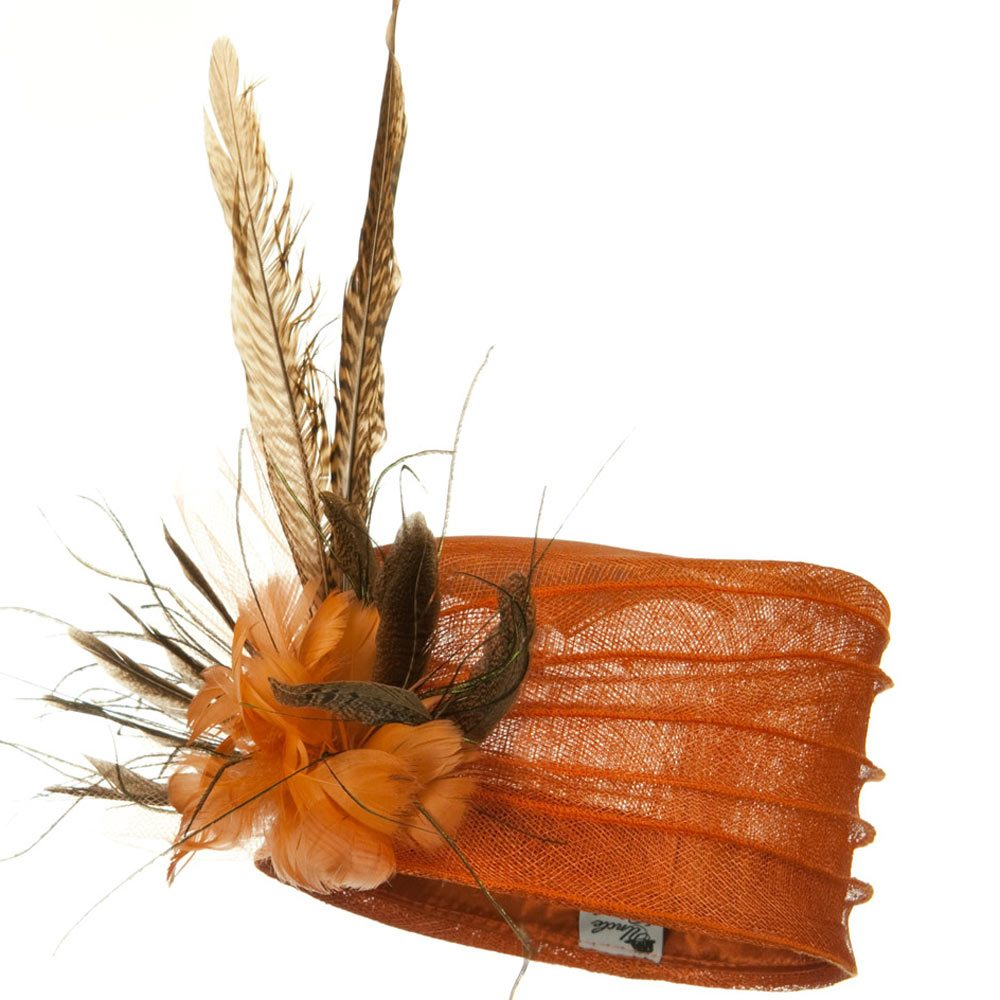 Long Feather Sinamay Hat - Orange - Hats and Caps Online Shop - Hip Head Gear
