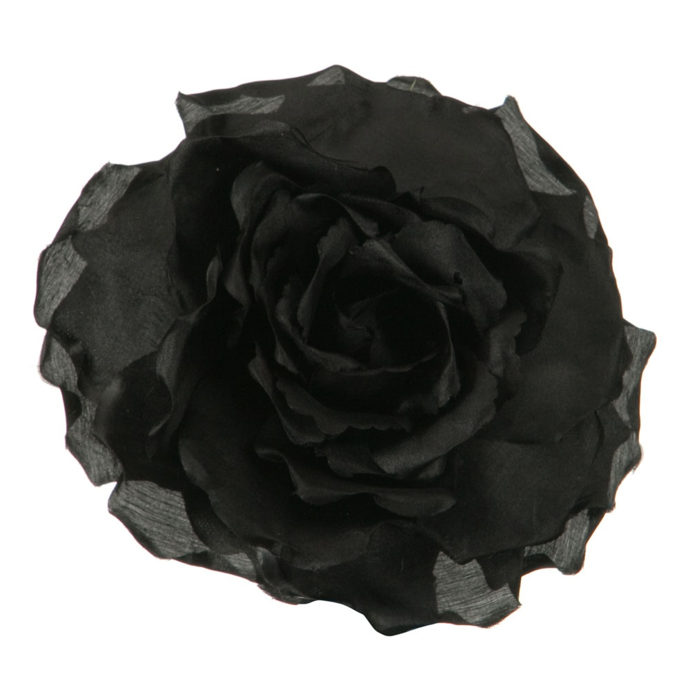 Large Open Rose Silk Two Tone Clip and Pin - Black